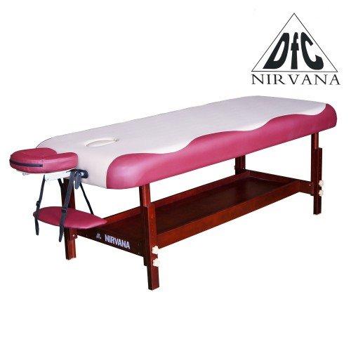 Массажный стационарный стол DFC NIRVANA, SUPERIOR, дерев. коричн. ножки, 1 секция, цвет беж.с вин. недорого купить онлайн